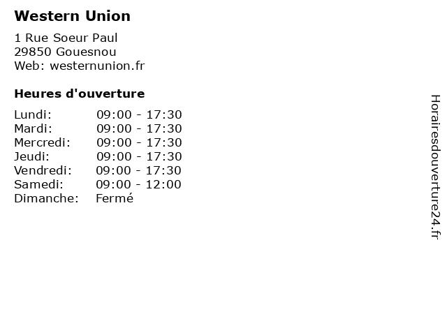 Western Union à Gouesnou: adresse et heures d'ouverture