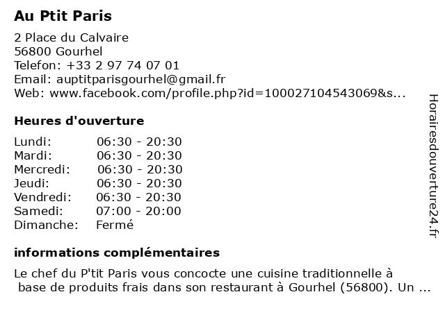 Au P'Tit Paris - bar à Gourhel: adresse et heures d'ouverture