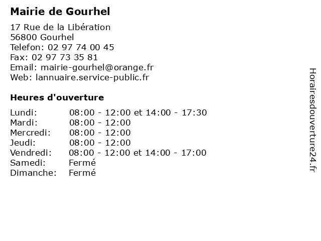 Mairie de Gourhel à Gourhel: adresse et heures d'ouverture