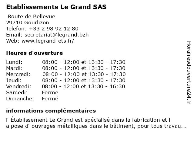 Etablissements Le Grand à Gourlizon: adresse et heures d'ouverture