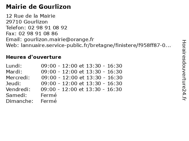 Mairie de Gourlizon à Gourlizon: adresse et heures d'ouverture