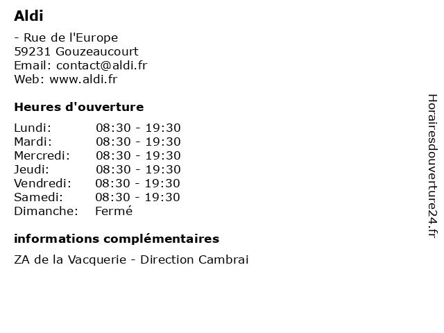 Aldi à Gouzeaucourt: adresse et heures d'ouverture