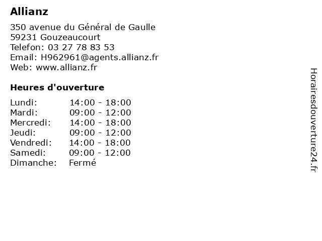 Allianz à Gouzeaucourt: adresse et heures d'ouverture