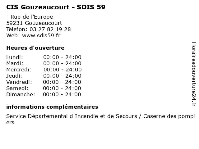 CIS Gouzeaucourt - SDIS 59 à Gouzeaucourt: adresse et heures d'ouverture