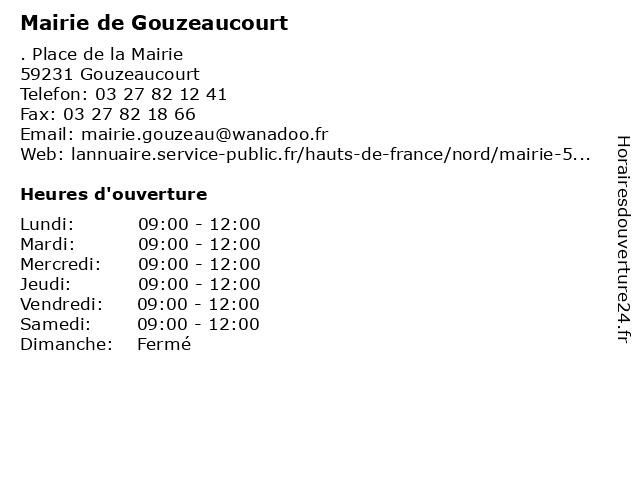 Mairie de Gouzeaucourt à Gouzeaucourt: adresse et heures d'ouverture