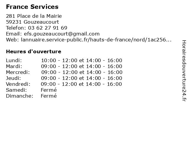Maison de services au public à Gouzeaucourt: adresse et heures d'ouverture