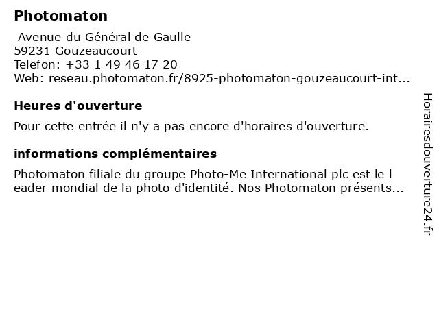 Photomaton à Gouzeaucourt: adresse et heures d'ouverture