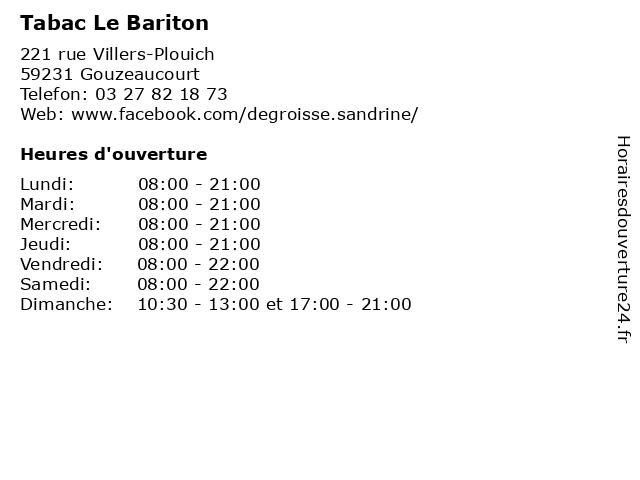 Tabac Le Bariton à Gouzeaucourt: adresse et heures d'ouverture
