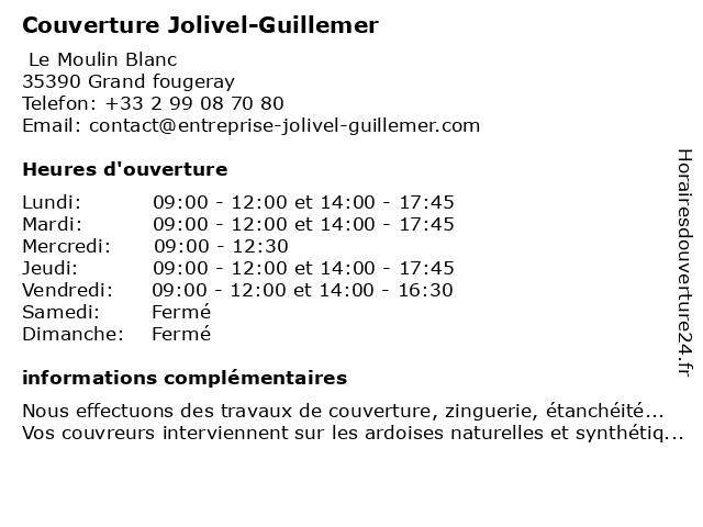 Couverture Jolivel-Guillemer à Grand fougeray: adresse et heures d'ouverture