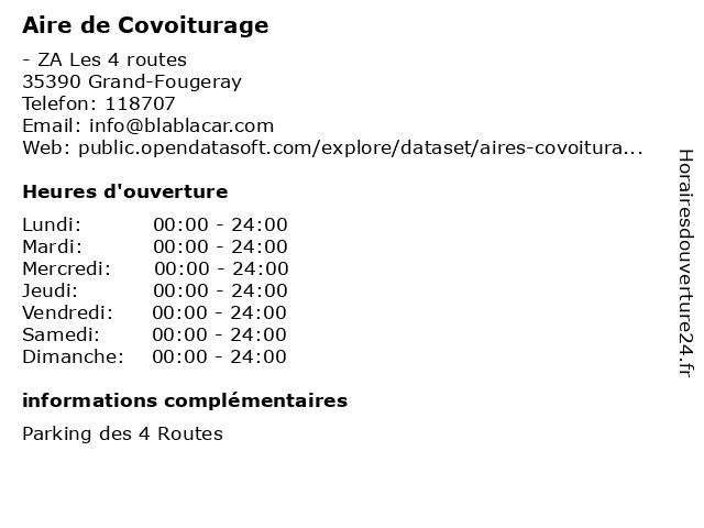 Aire de Covoiturage à Grand-Fougeray: adresse et heures d'ouverture