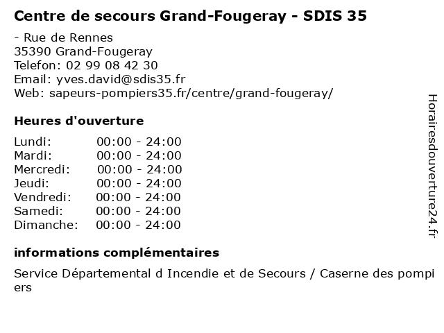 Centre de secours Grand-Fougeray - SDIS 35 à Grand-Fougeray: adresse et heures d'ouverture