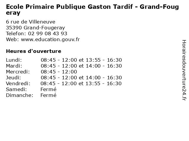 Ecole Primaire Publique Gaston Tardif - Grand-Fougeray à Grand-Fougeray: adresse et heures d'ouverture