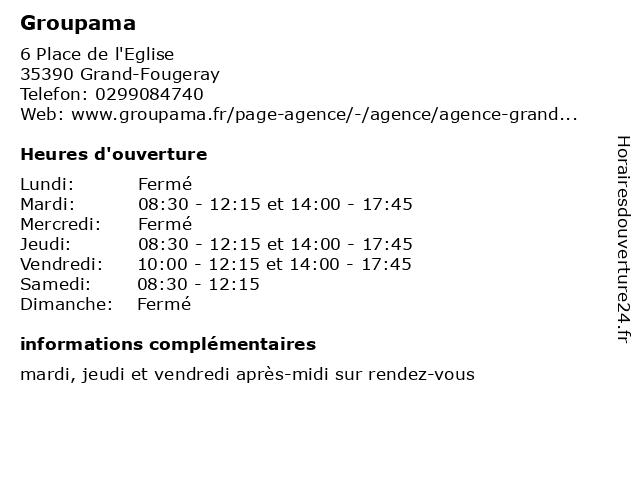 Groupama à Grand-Fougeray: adresse et heures d'ouverture