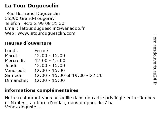 La Tour Duguesclin à Grand-Fougeray: adresse et heures d'ouverture