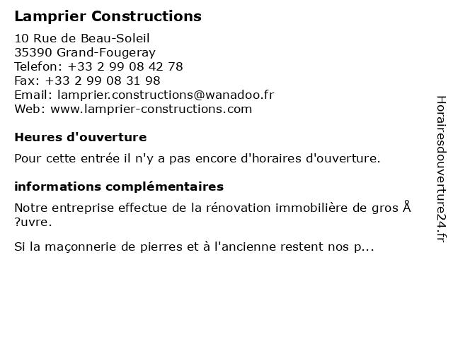 Lamprier Constructions à Grand-Fougeray: adresse et heures d'ouverture
