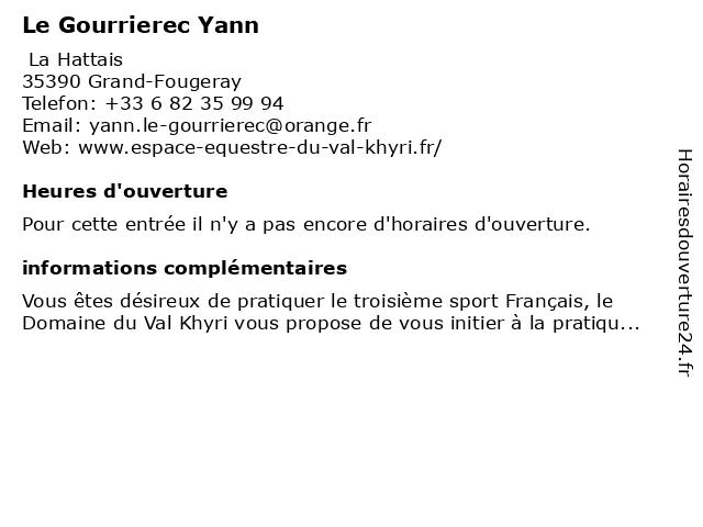 Le Gourrierec Yann à Grand-Fougeray: adresse et heures d'ouverture