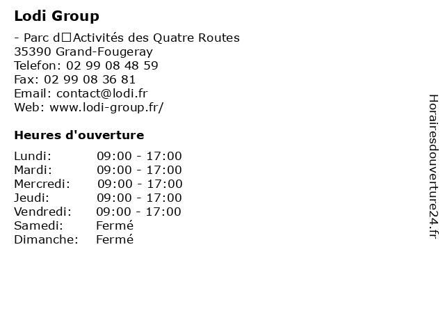 Lodi Group à Grand-Fougeray: adresse et heures d'ouverture