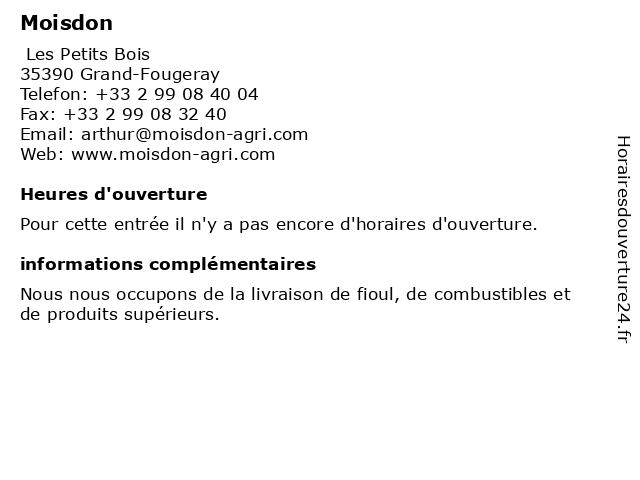 Moisdon à Grand-Fougeray: adresse et heures d'ouverture