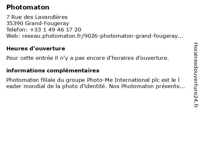 Photomaton à Grand-Fougeray: adresse et heures d'ouverture