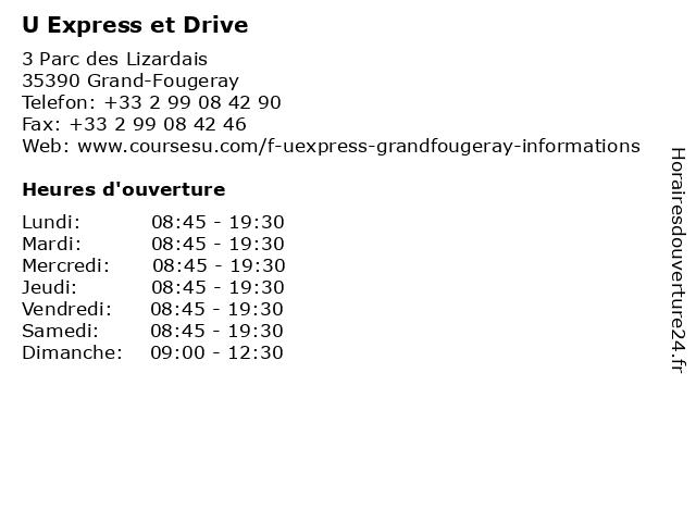 U Express et Drive à Grand-Fougeray: adresse et heures d'ouverture