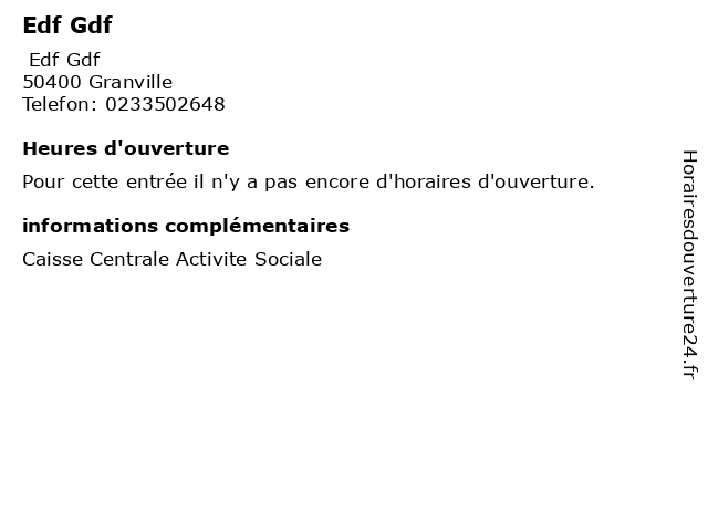 Edf Gdf à Granville: adresse et heures d'ouverture