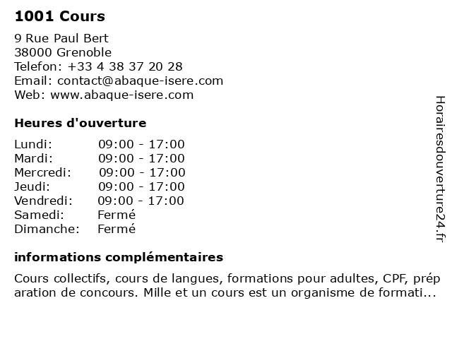 1001 Cours à Grenoble: adresse et heures d'ouverture