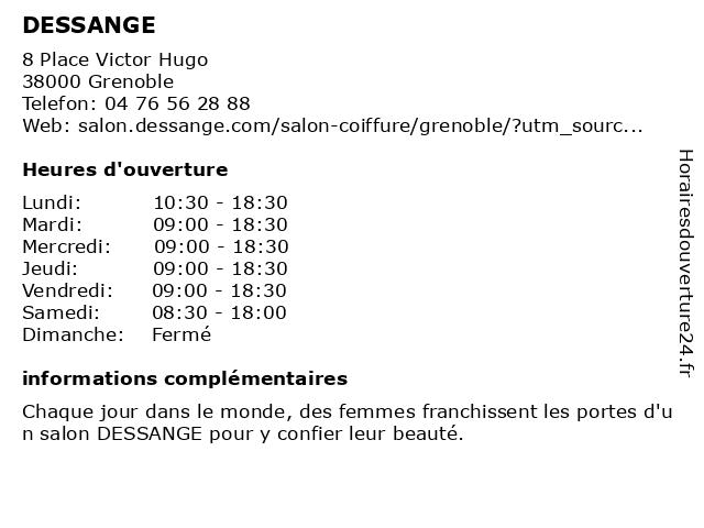 DESSANGE à Grenoble: adresse et heures d'ouverture