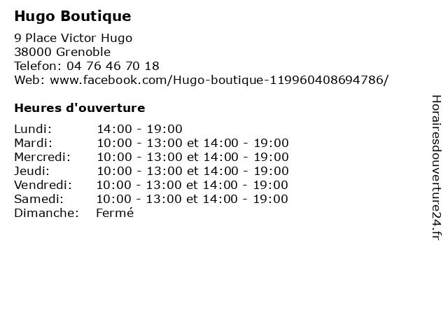 Hugo Boutique à Grenoble: adresse et heures d'ouverture