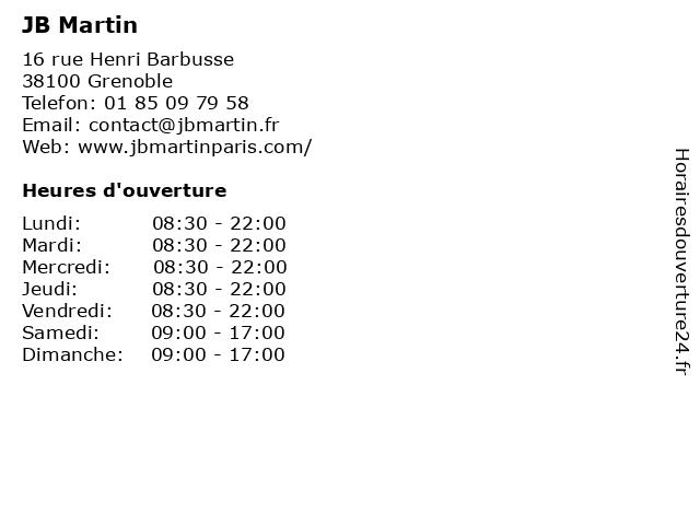 JB Martin à Grenoble: adresse et heures d'ouverture