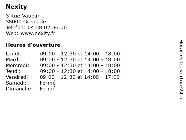 Nexity à Grenoble: adresse et heures d'ouverture