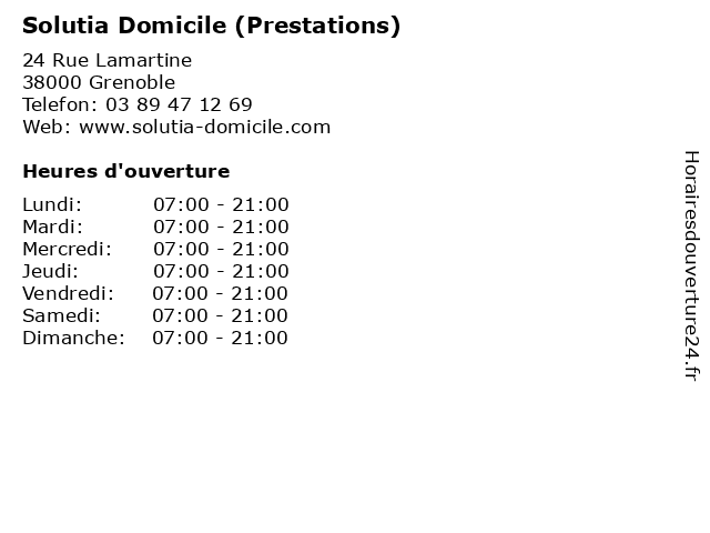 Solutia Domicile (Prestations) à Grenoble: adresse et heures d'ouverture