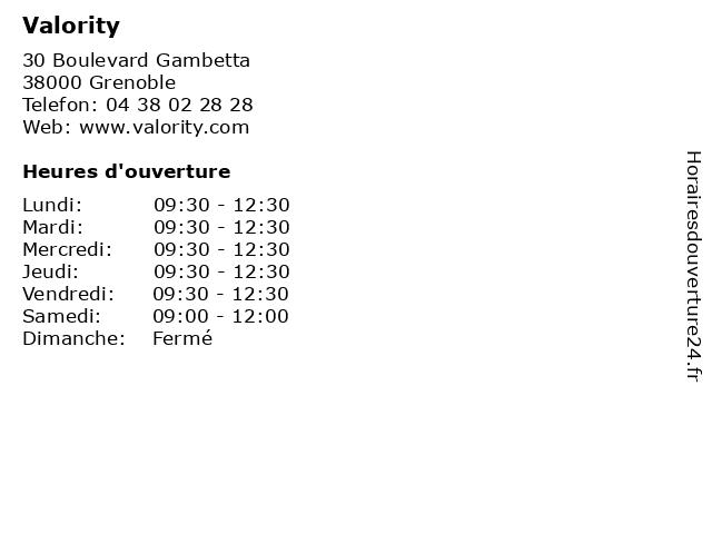 Valority à Grenoble: adresse et heures d'ouverture