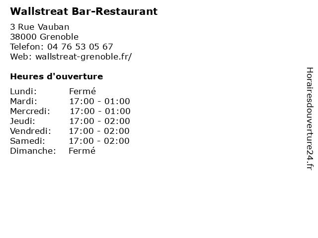 Wallstreat Bar-Restaurant à Grenoble: adresse et heures d'ouverture