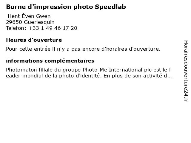 Borne d'impression photo Speedlab à Guerlesquin: adresse et heures d'ouverture