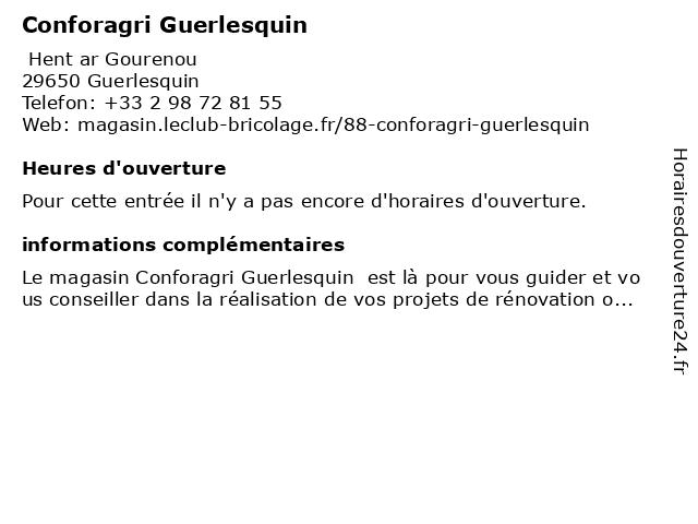 Conforagri Guerlesquin à Guerlesquin: adresse et heures d'ouverture