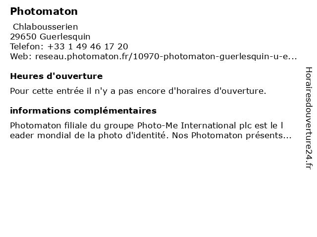 Photomaton à Guerlesquin: adresse et heures d'ouverture