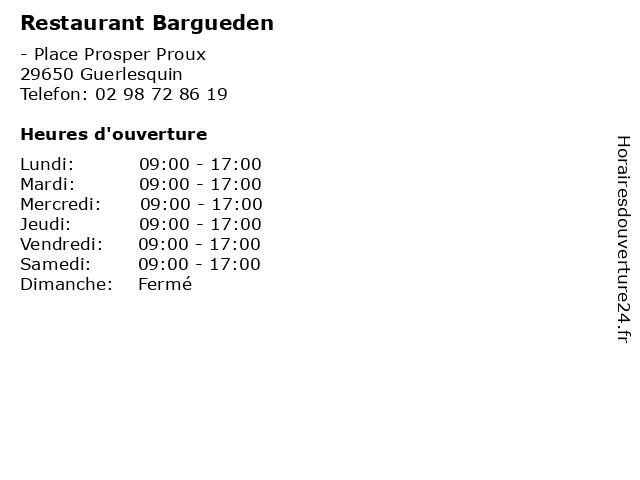 Restaurant Bargueden à Guerlesquin: adresse et heures d'ouverture