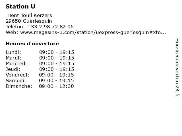 Station U à Guerlesquin: adresse et heures d'ouverture