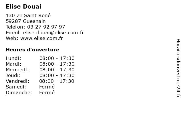 Elise Douai à Guesnain: adresse et heures d'ouverture
