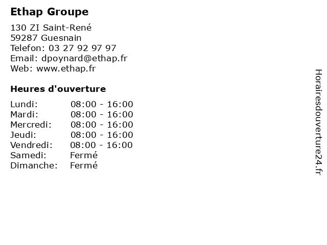 Ethap Groupe à Guesnain: adresse et heures d'ouverture