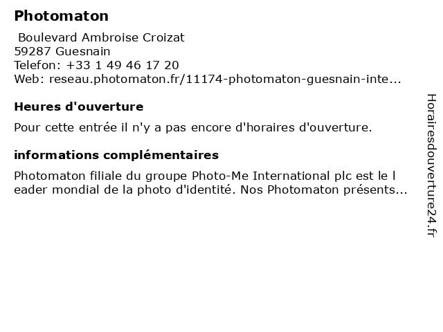 Photomaton à Guesnain: adresse et heures d'ouverture