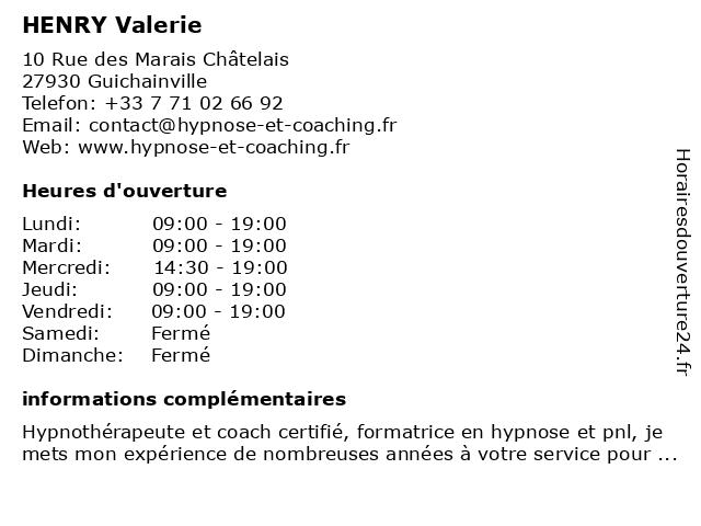 HENRY Valerie à Guichainville: adresse et heures d'ouverture