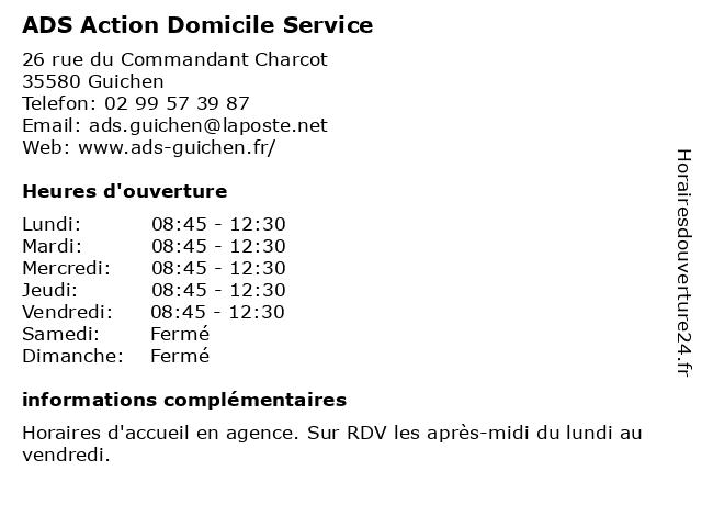 ADS Action Domicile Service à Guichen: adresse et heures d'ouverture