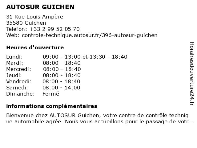 AUTOSUR GUICHEN à Guichen: adresse et heures d'ouverture