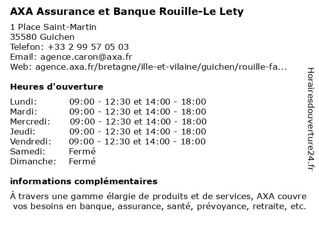 AXA Assurance FABIEN ROUILLE à Guichen: adresse et heures d'ouverture