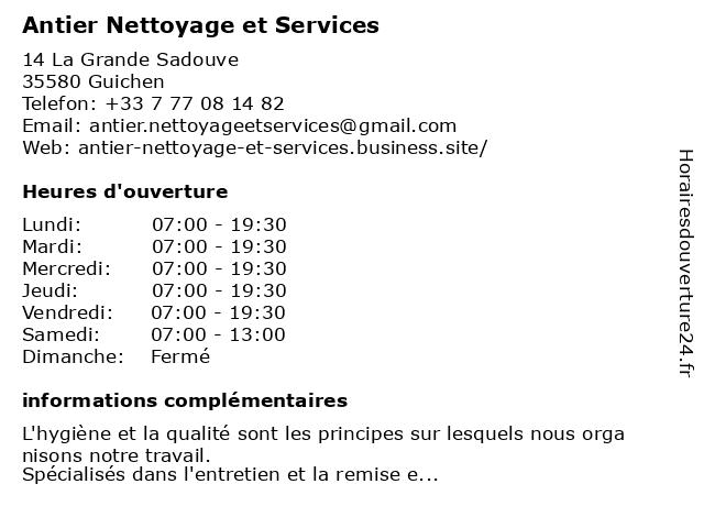 Antier Nettoyage et Services à Guichen: adresse et heures d'ouverture