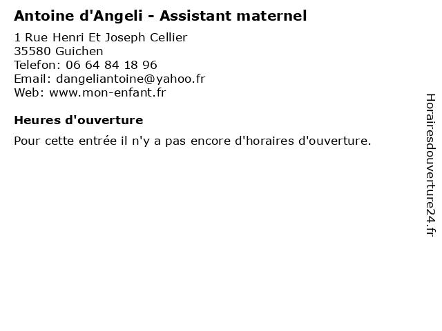 Antoine d'Angeli - Assistant maternel à Guichen: adresse et heures d'ouverture