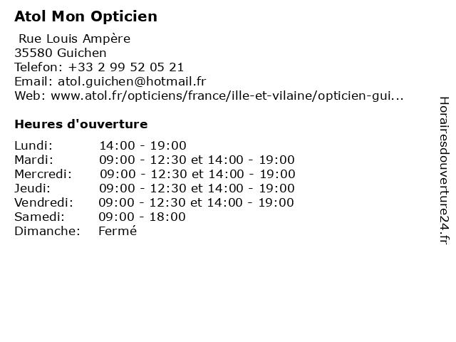 Atol Mon Opticien à Guichen: adresse et heures d'ouverture