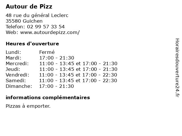 Autour de Pizz à Guichen: adresse et heures d'ouverture