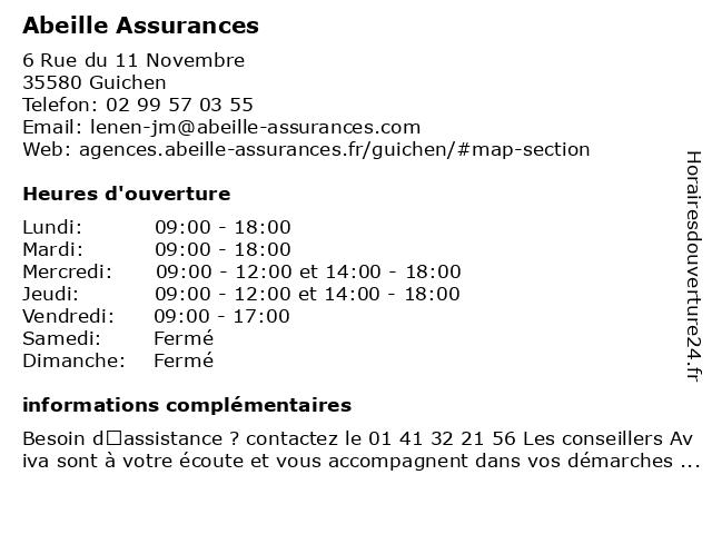 Aviva Assurance à Guichen: adresse et heures d'ouverture